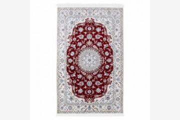 فرش دستبافت گل ابریشم گالری سلام مدل ۱۸۲۰۰۲ طرح لچک و ترنج