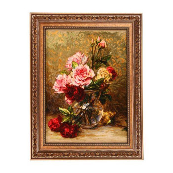 تابلو فرش چله ابریشم گالری مثالین کد ۲۵۰۳۹ طرح گل برجسته
