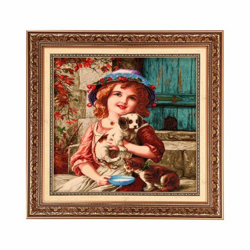 تابلو فرش چله ابریشم گالری مثالین کد ۲۵۰۴۳ طرح دختر بچه